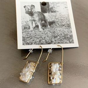 NWT Anthropologie gold and natural stone earrings